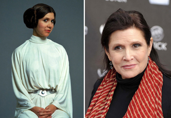 Star Wars Actors Then And Now 03 Carrie Fisher as Princess Leia 1977 - 2015