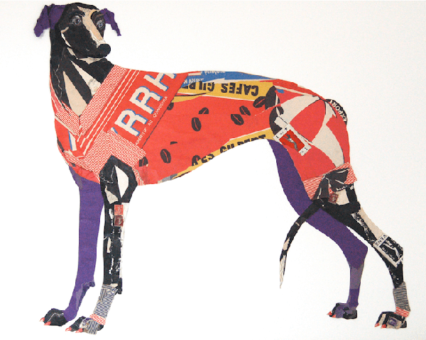 Dog collages made from old papers