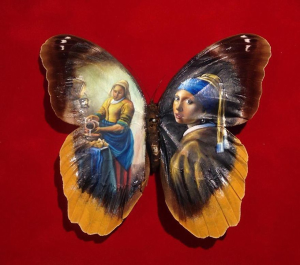 Painting on real butterfly wings