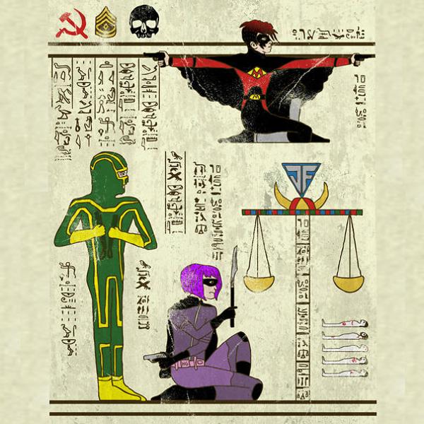 Super Heroes Meet Egyptian Hieroglyphs